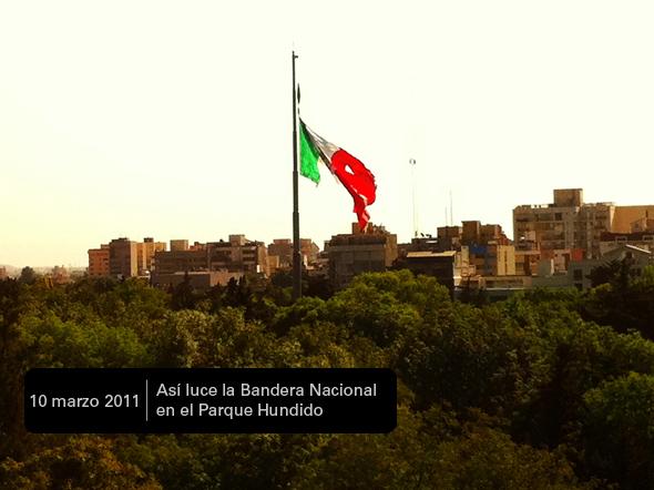 Bandera Nacional totalmente desgarrada
